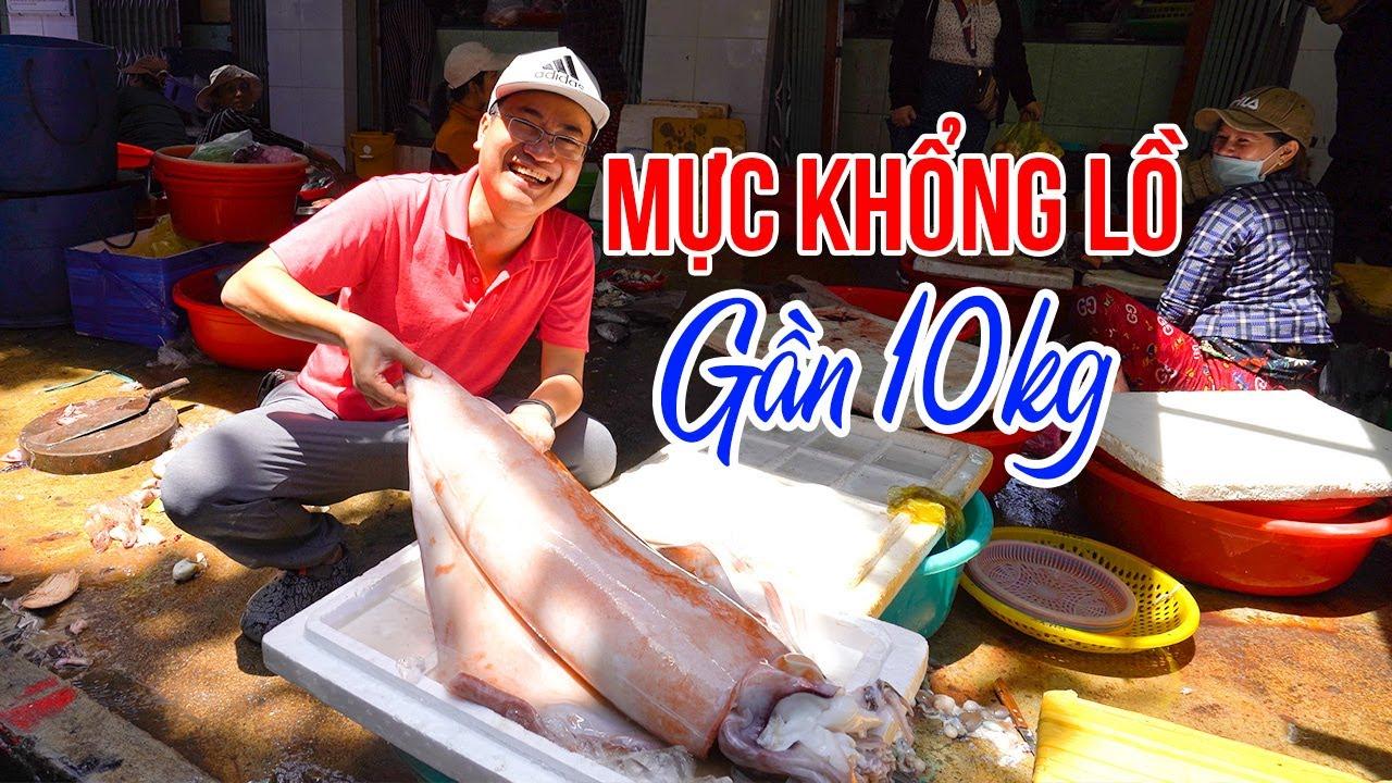 Trải nghiệm Chợ Đầm hải sản giá rẻ và lớn nhất Quy Nhơn gặp Mực Khổng Lồ | DU LỊCH QUY NHƠN